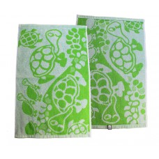 Terry towel Turtles 400gsm 30x50cm white/green