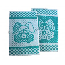 Terry towel Rabbit 400gsm 30x50cm white/emerald