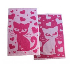 Terry towel Cat 400gsm 30x50cm white/pink