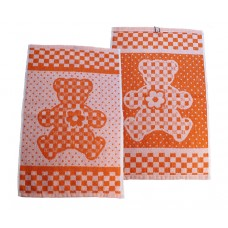 Terry towel Teddy 400gsm 30x50cm white/orange