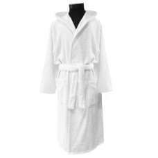 Terry bathrobe Hotel Unisex M-3XL white hooded