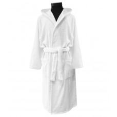 Terry bathrobe Hotel Unisex M-3XL white hooded