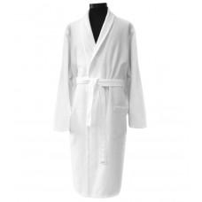 Waffle bathrobe Hotel Unisex white with collar
